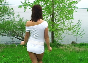 White dress outdoor solo Teasing 5